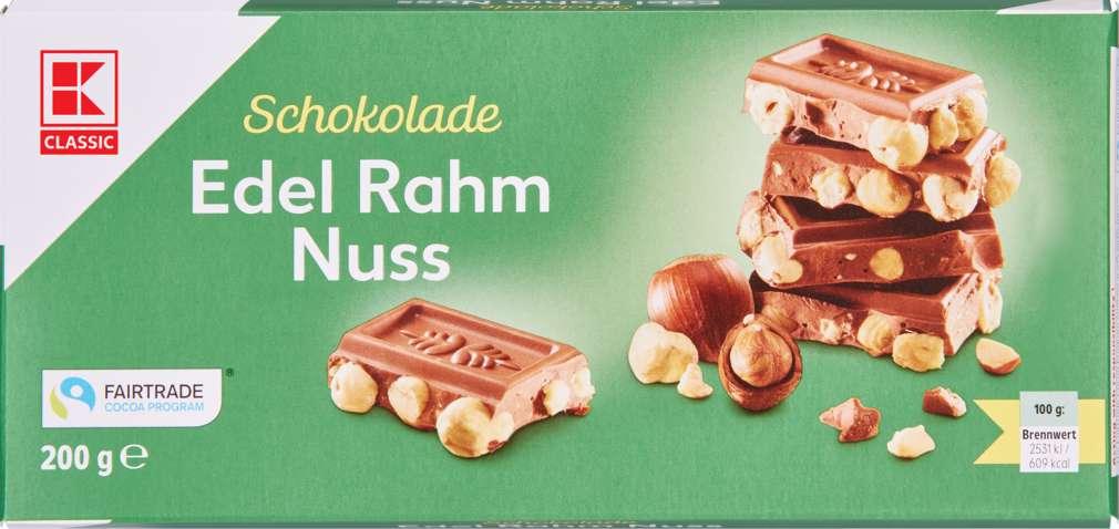 Abbildung des Sortimentsartikels K-Classic Edelrahm-Nuss Schokolade 200g
