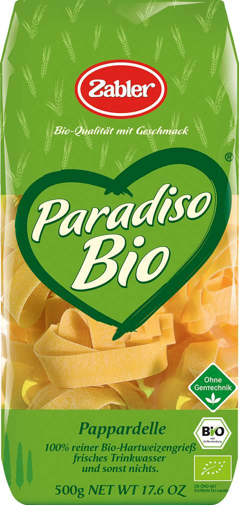 Abbildung des Sortimentsartikels Zabler Paradiso Bio Pappardelle 500g