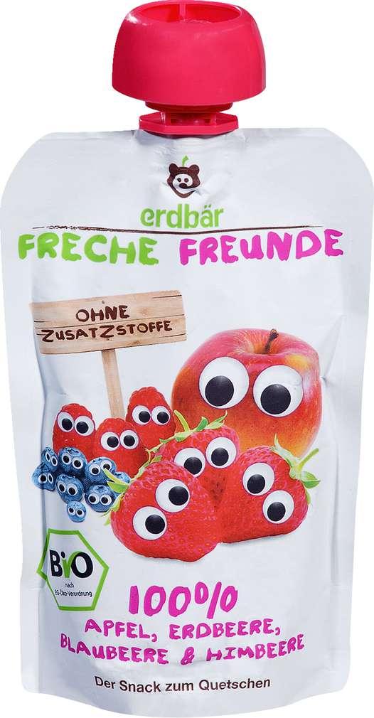 Abbildung des Sortimentsartikels Erdbär Freche Freunde 100% Apfel, Erdbeere, Blaubeere & Himbeere 100g