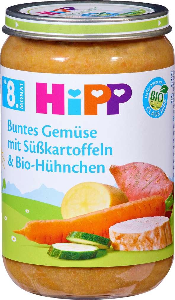 Abbildung des Sortimentsartikels Hipp Buntes Gemüse mit Süßkartoffeln & Bio-Hühnchen 220g