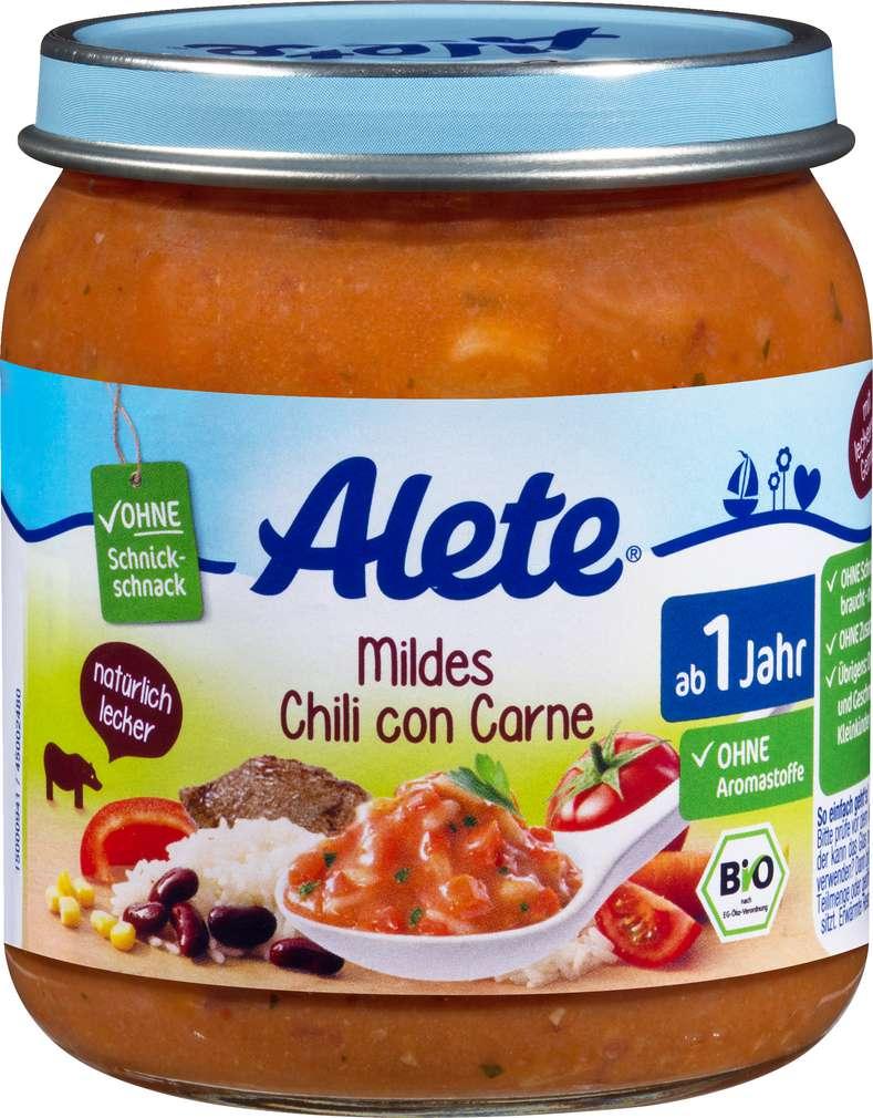 Abbildung des Sortimentsartikels Alete Bio Chili con Carne 250g ab 1 Jahr