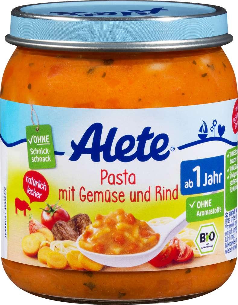Abbildung des Sortimentsartikels Alete Bio Pasta mit Gemüse/Rind ab 1 Jahr 250g