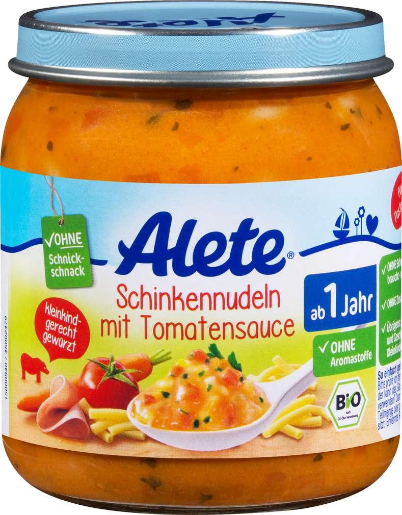 Abbildung des Sortimentsartikels Alete Bio Schinkennudel/Tomate ab 1 Jahr 250g