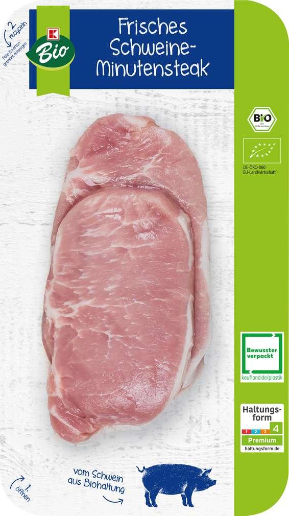 Abbildung des Sortimentsartikels K-Bio Minutensteak vom Schwein 2 Stück 160g