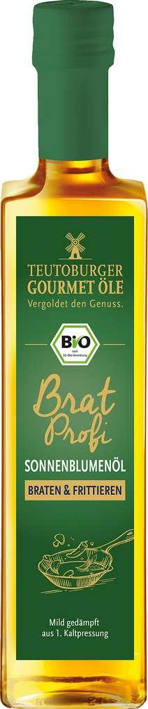 Abbildung des Sortimentsartikels Teutoburger Bio-Sonnenblumenöl Bratprofi, kaltgepresst 500ml
