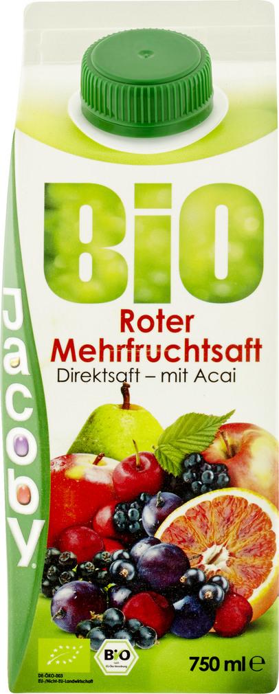 Abbildung des Sortimentsartikels Jacoby Bio Roter Mehrfruchtdirektsaft 0,75l