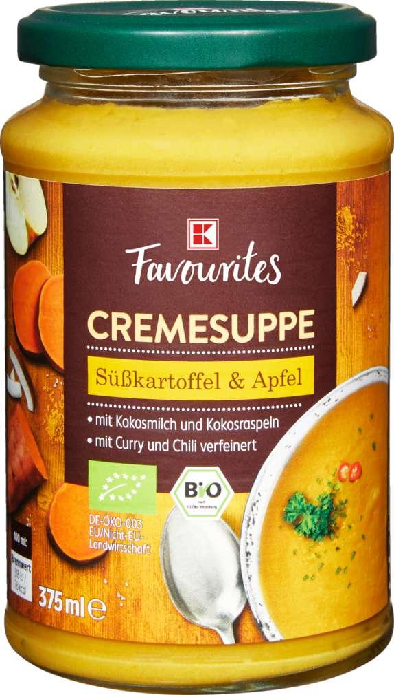 Abbildung des Sortimentsartikels K-Favourites Bio Süßkartoffel Apfel Suppe mit Curry 375ml