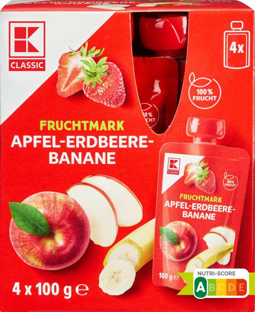Abbildung des Sortimentsartikels K-Classic Fruchtmus Apfel/Erdbeer/Banane 4x100g