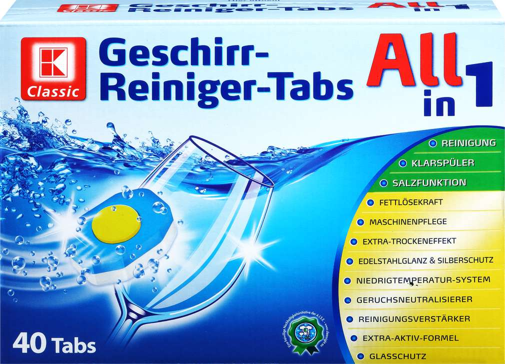 Abbildung des Sortimentsartikels K-Classic Geschirr-Reiniger-Tabs All in 1 40 Stück