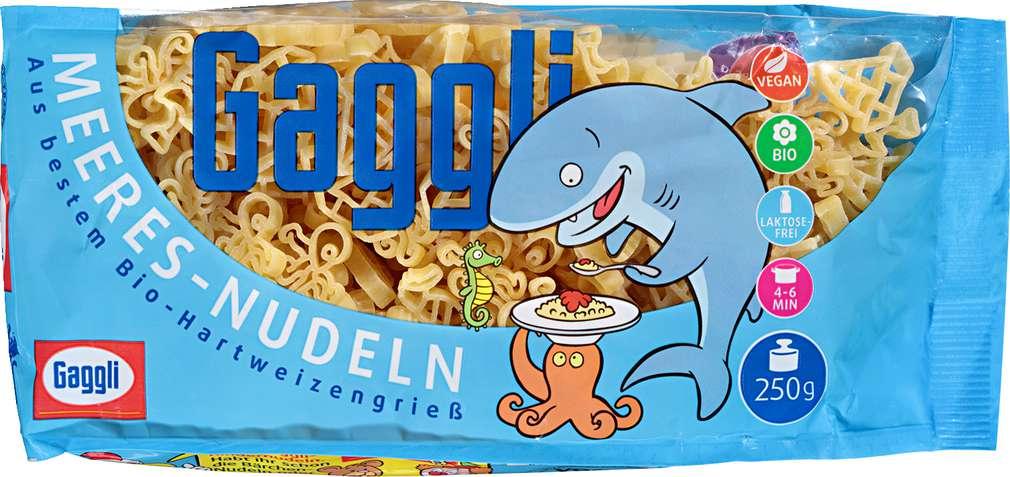 Abbildung des Sortimentsartikels Gaggli Kinder Meeres-Nudeln 250g