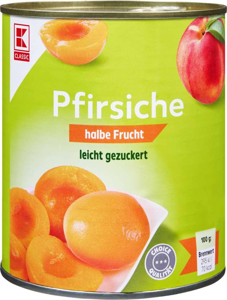 Abbildung des Sortimentsartikels K-Classic Pfirsiche 1/2 Frucht Choice, gezuckert 850ml