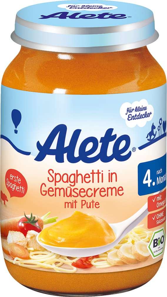 Abbildung des Sortimentsartikels Alete Spaghetti in Gemüsecreme mit Pute