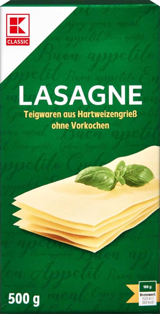 Abbildung des Sortimentsartikels K-Classic Lasagne gelb 500g