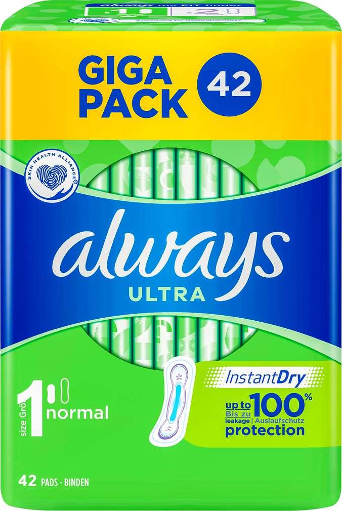 Abbildung des Sortimentsartikels Always Binden Ultra Normal  Gigapack 42 Stück