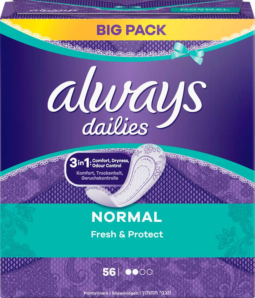 Abbildung des Sortimentsartikels Always Slipeinlagen Normal Big Pack 56 Stück