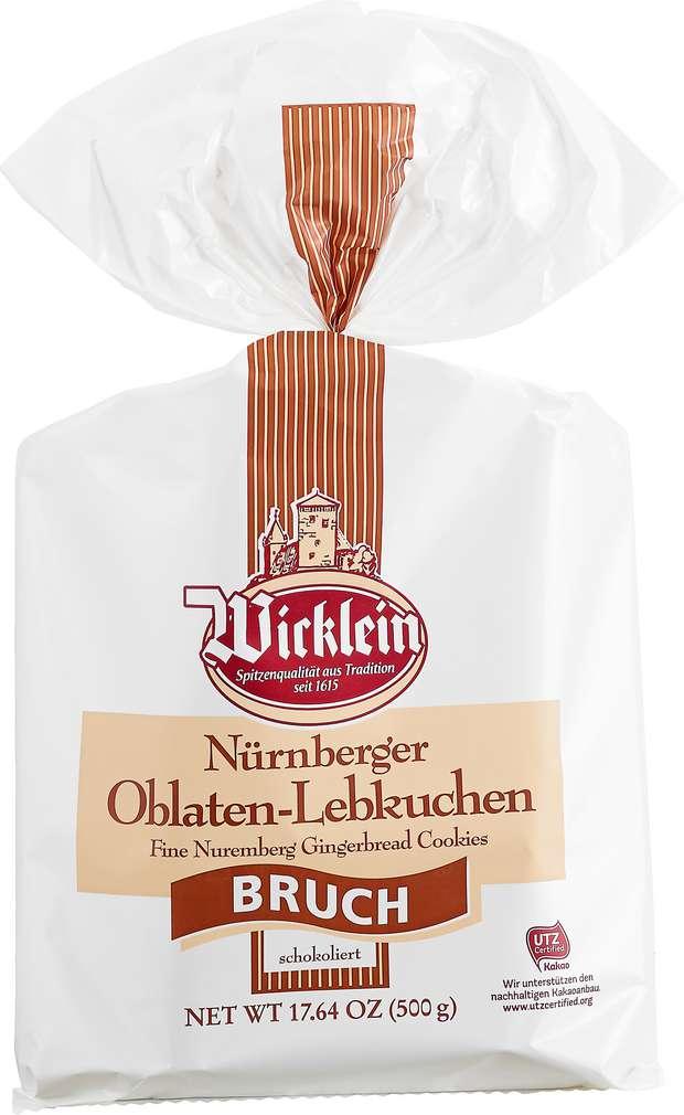 Abbildung des Sortimentsartikels Wicklein Nürnberger Lebkuchen Bruch, schokoliert 500g