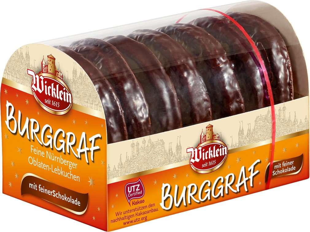 Abbildung des Sortimentsartikels Wicklein Burggraf Oblatenlebkuchen schokoliert 200g