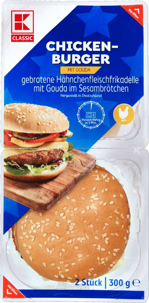 Abbildung des Sortimentsartikels K-Classic Chickenburger 300g
