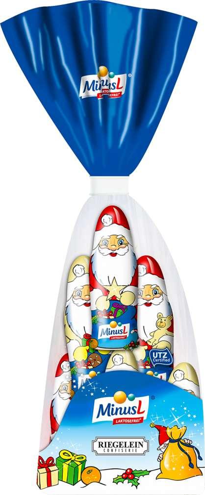 Abbildung des Sortimentsartikels MinusL Weihnachtsmännchen Riegelein 96g