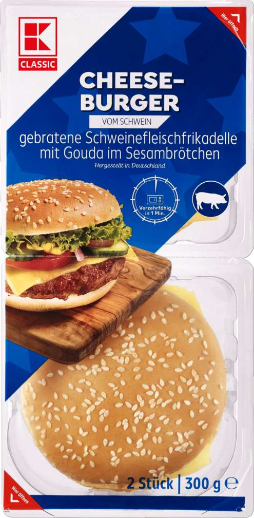 Abbildung des Sortimentsartikels K-Classic Cheeseburger Schwein 300g