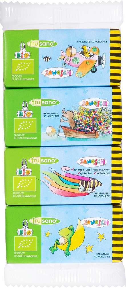 Abbildung des Sortimentsartikels Frusano Janosch Bio-Nuss Schokolade Mini lf gf 4x12,5g