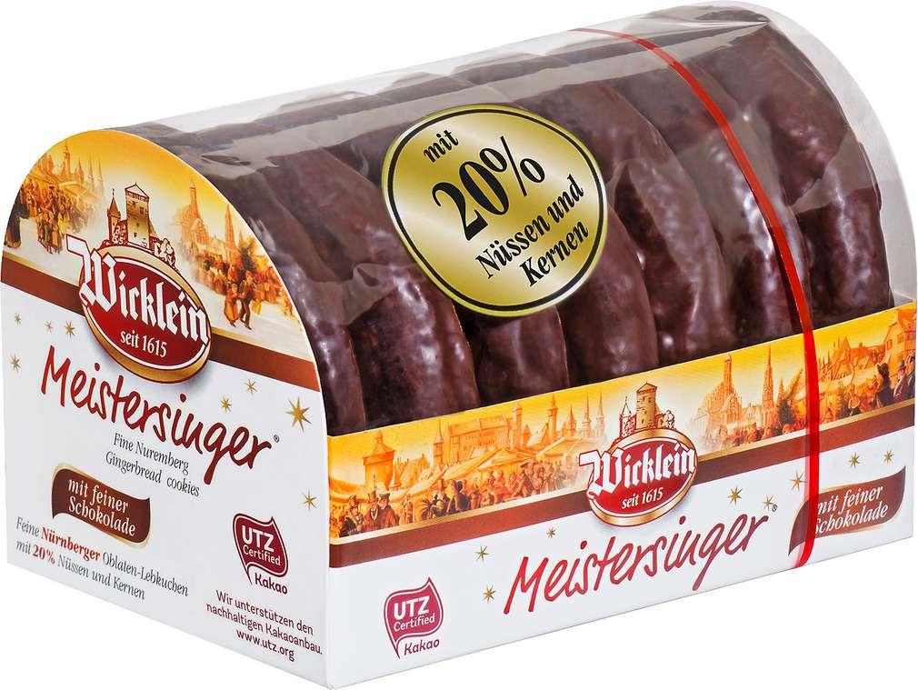 Abbildung des Sortimentsartikels Wicklein Meistersinger Lebkuchen schokoliert 200g