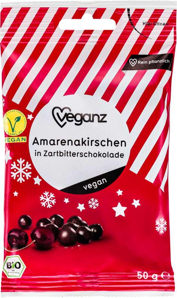 Abbildung des Sortimentsartikels Veganz Bio-Amarenakirschen Zartbitter vegan 50g
