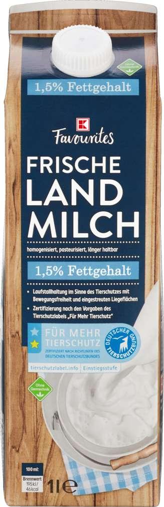 Abbildung des Sortimentsartikels K-Favourites Frische Landmilch 1,5% Fett 1,0l