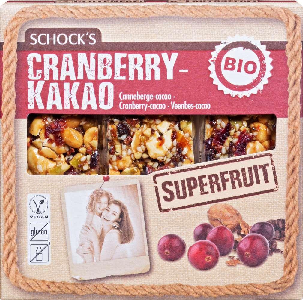 Abbildung des Sortimentsartikels Schock Bio-Superfood Riegel Cranberry/Kakao 3x25g