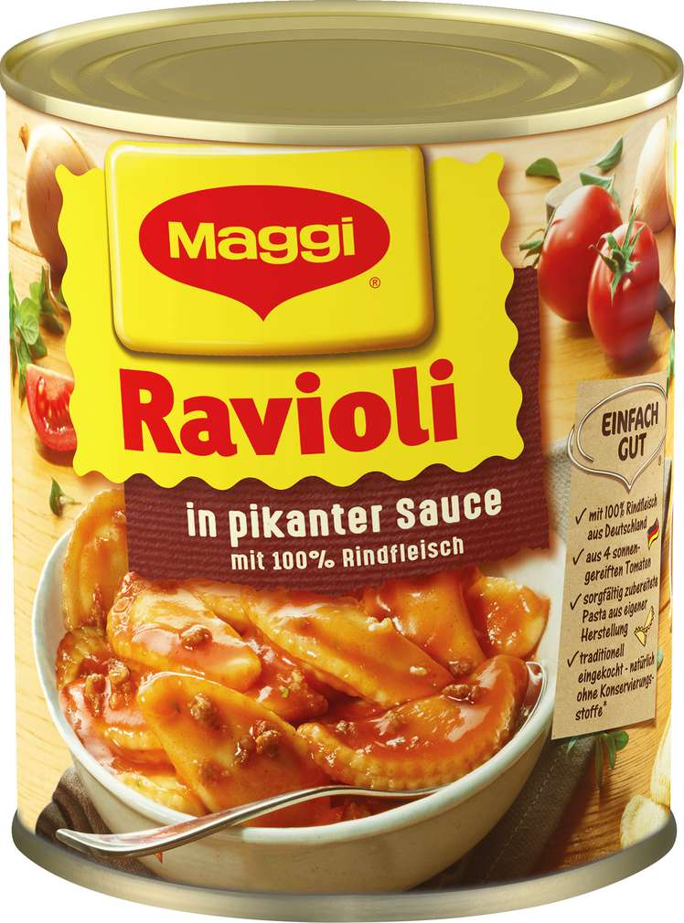 Abbildung des Sortimentsartikels Maggi Ravioli in Pikanter Sauce mit Fleisch 800g