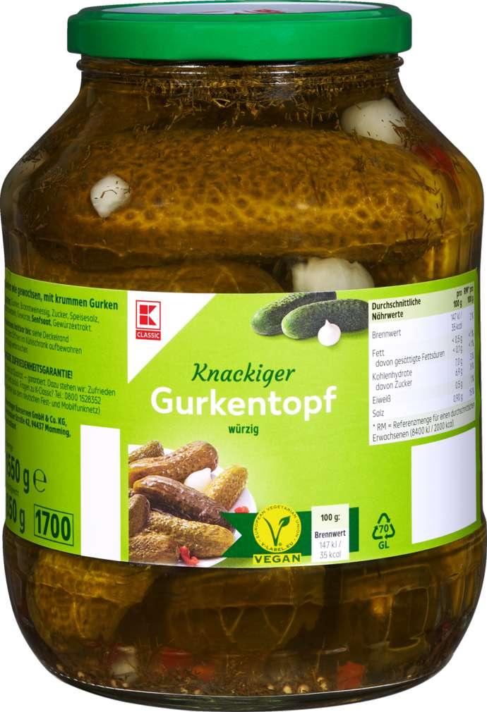 Abbildung des Sortimentsartikels K-Classic knackiger Gurkentopf würzig 1550g