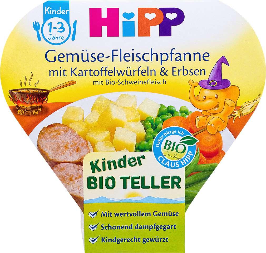 Abbildung des Sortimentsartikels Hipp Gemüse-Fleischpfanne mit Kartoffelwürfeln & Erbsen 250g