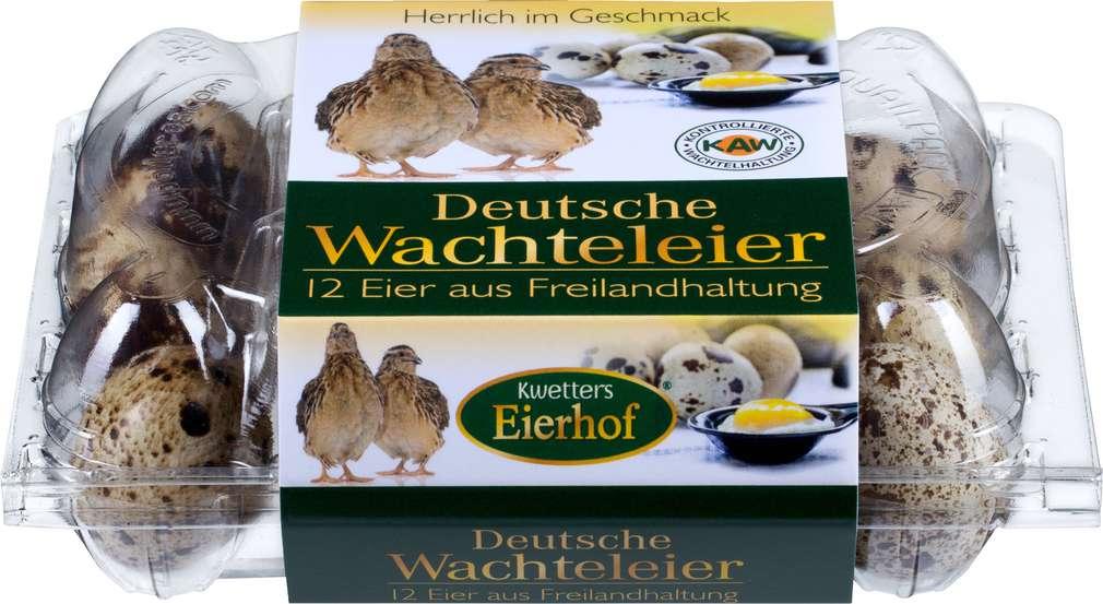 Abbildung des Sortimentsartikels Kwetters Eierhof Deutsche Wachteleier Freilandhaltung Kwetters 12er