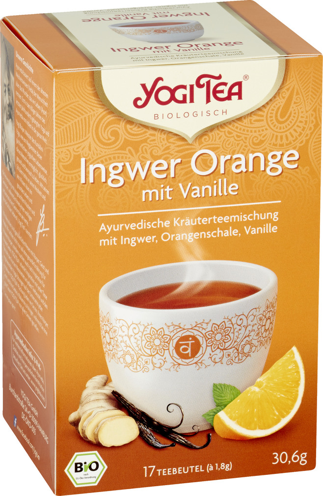 Abbildung des Sortimentsartikels Bio Yogi Tee Ingwer Orange mit Vanille 17x1,8g