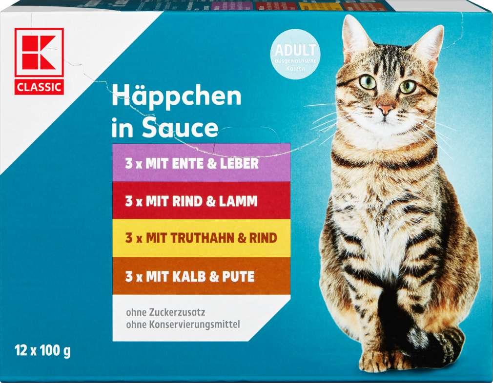 Abbildung des Sortimentsartikels K-Classic Katzennahrung Häppchen in Sauce 12x100g
