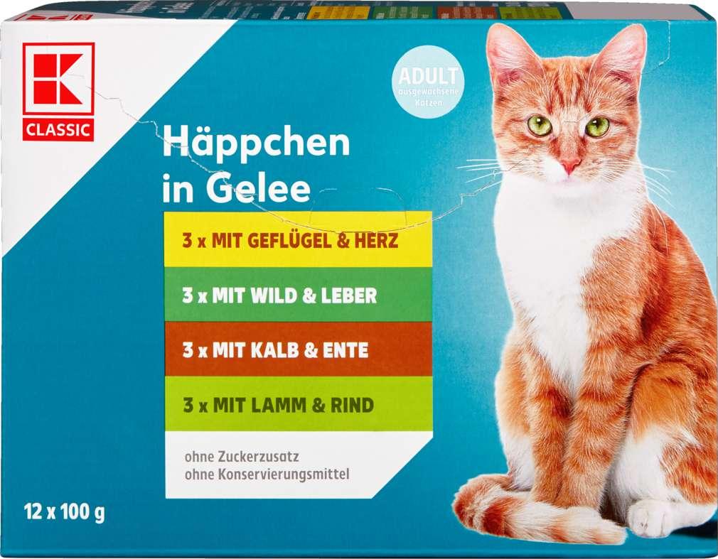 Abbildung des Sortimentsartikels K-Classic Katzennahrung Häppchen in Gelee 12x100g