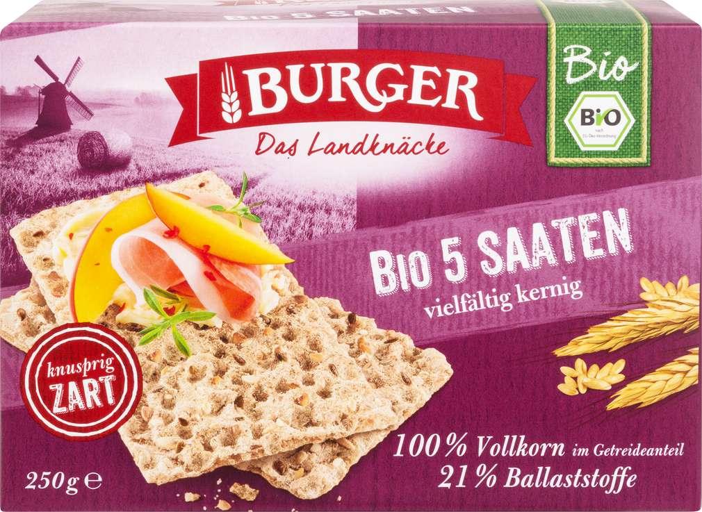 Abbildung des Sortimentsartikels Burger Bio Knäckebrot 5-Saaten 250g