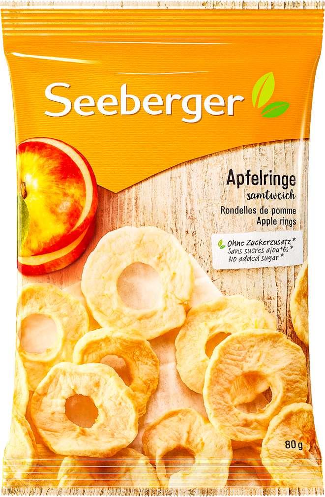 Abbildung des Sortimentsartikels Seeberger Apfelringe 80g