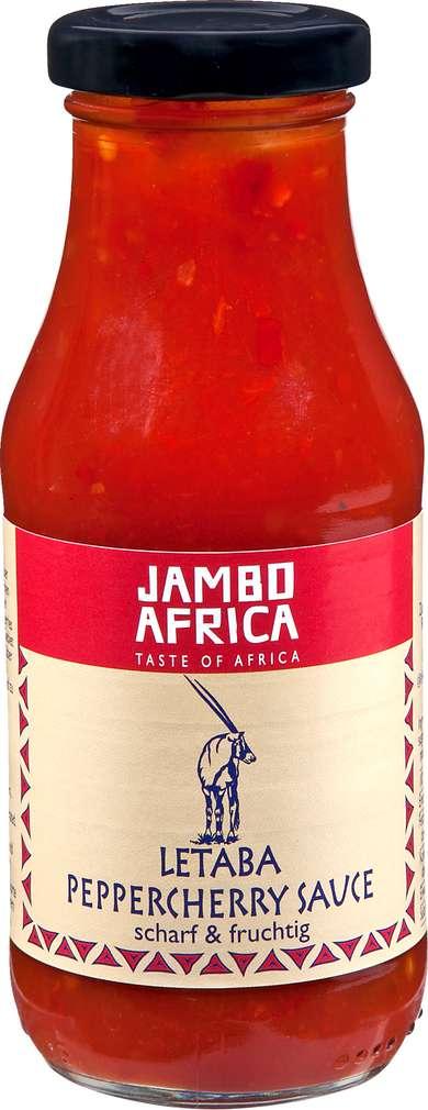 Abbildung des Sortimentsartikels Jambo Africa Letaba Peppercherry Sauce scharf & fruchtig 240ml
