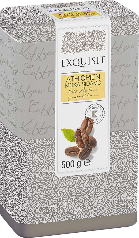 Abbildung des Sortimentsartikels Exquisit Äthopien Moka Sidamo 100% Arabica ganze Bohnen 500g