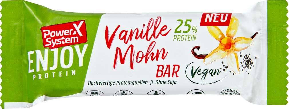 Abbildung des Sortimentsartikels Power System Riegel Protein Vanille Mohn 45g