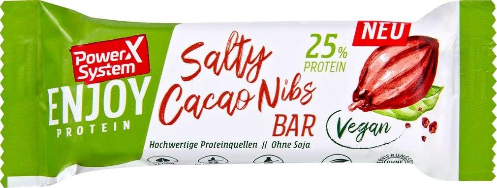 Abbildung des Sortimentsartikels Power System Riegel Salty Cacao Nibs vg 45g