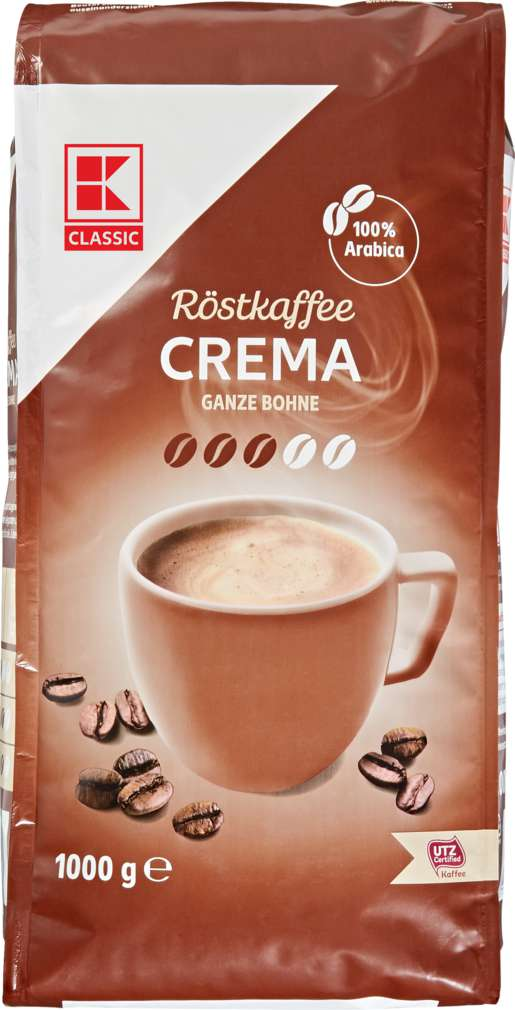 Abbildung des Sortimentsartikels K-Classic Caffé Crema Ganze Bohnen 1000g