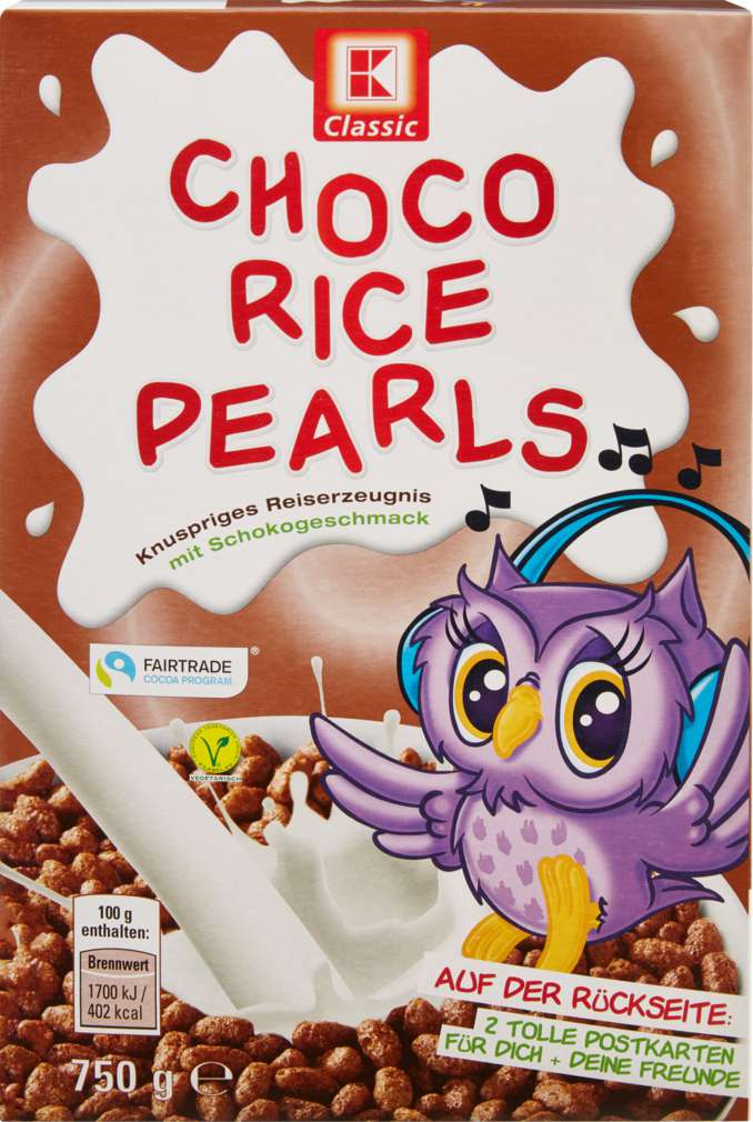 Abbildung des Sortimentsartikels K-Classic Choco Rice-Perls 750g