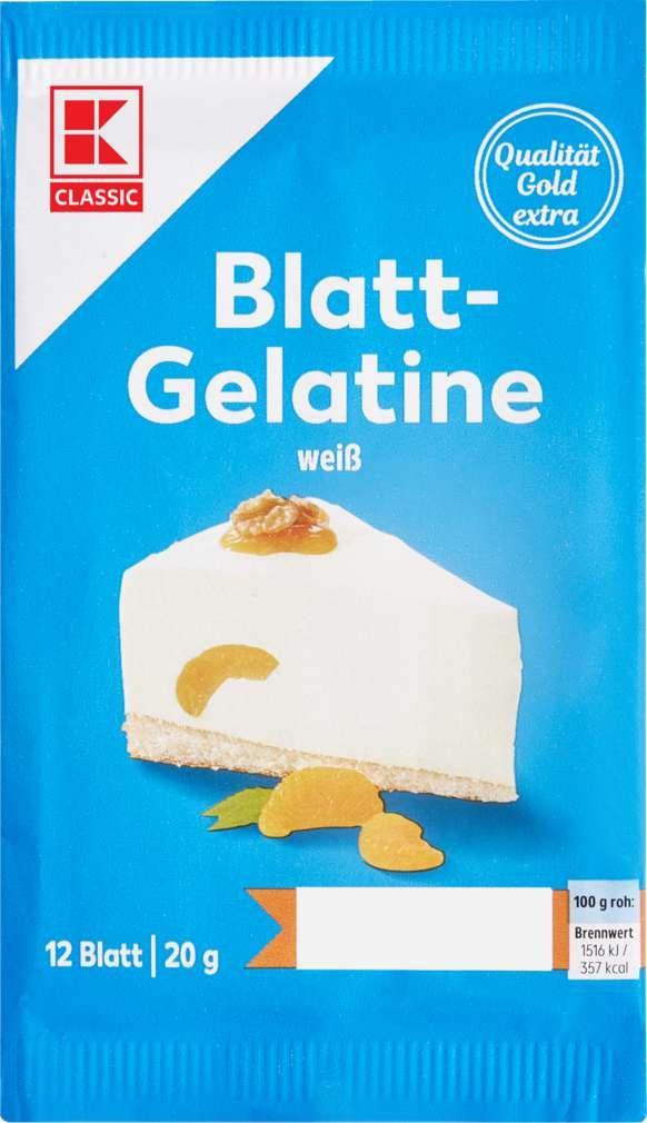 Abbildung des Sortimentsartikels K-Classic Blattgelatine weiß, 12 Blatt 20g