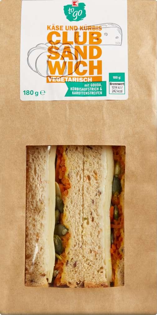 Abbildung des Sortimentsartikels K-To Go Clubsandwich Käse und Kürbis 180g Packung