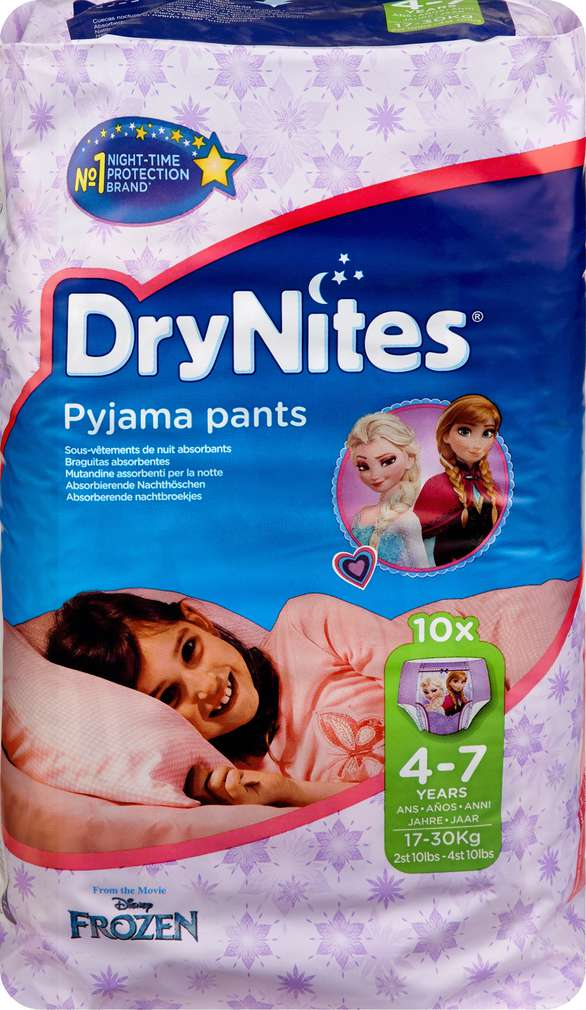 Abbildung des Sortimentsartikels Huggies Dry Nites Pyjama Pants Mädchen 4-7 Jahre 10 Stück