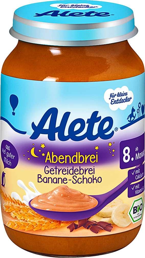 Abbildung des Sortimentsartikels Alete Abendbrei Getreidebrei Banane-Schoko 250g