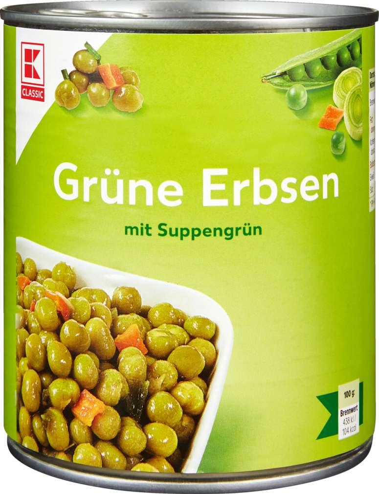Abbildung des Sortimentsartikels K-Classic Grüne Erbsen mit Suppengrün 850ml