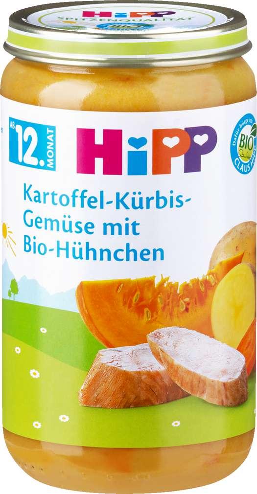 Abbildung des Sortimentsartikels Hipp Kartoffel-Kürbis-Gemüse mit Bio-Hühnchen 250g